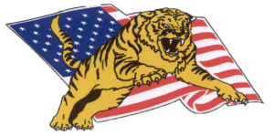 Graphic of Tiger leaping with the American flag in the background.