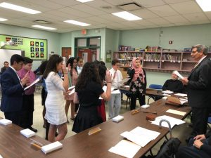 2018 Board Member for a Day Students Participating swearing in ceremony